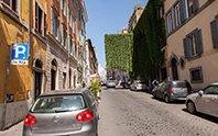 Via Panisperna con palazzi ricoperti di ortiche sullo sfondo
