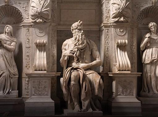 La statua del Mosè di Michelangelo, conservata nella Basilica di Santa Maria Maggiore